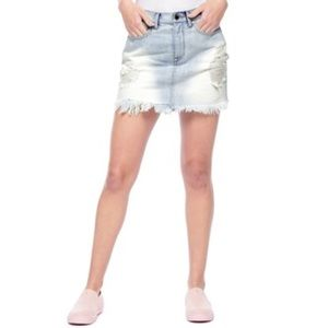 JUICY COUTURE light wash high waisted denim skirt